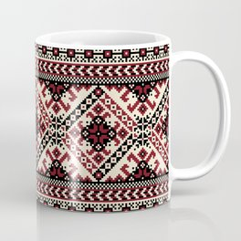 Ivory Folk Pattern Coffee Mug