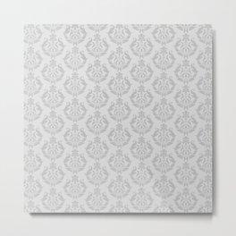 Silver Damask Pattern Metal Print