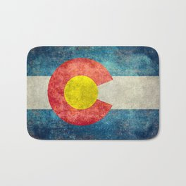 Colorado State flag, Vintage retro style Bath Mat
