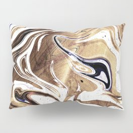 Metallic Gold Purple White Marble Swirl Pillow Sham