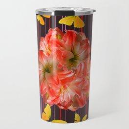 Decorative yellow Butterflies Pink Flowers Puce Travel Mug