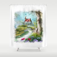 house Shower Curtains featuring house by tatiana-teni