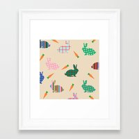 rabbits Framed Art Prints featuring rabbits by vitamin