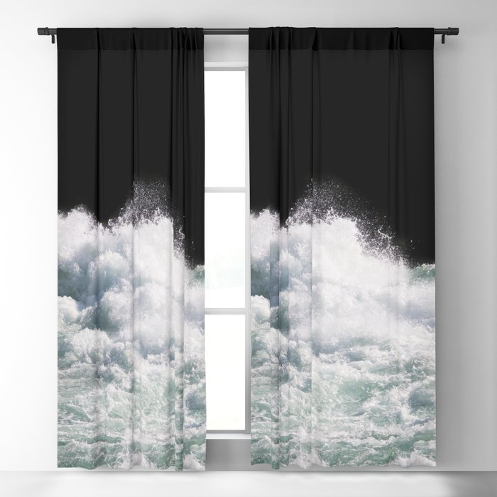 Water Photography | Wild Rapids | Waves | Ocean | Sea Minimalism Blackout Curtain