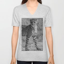 B&W Cheetah Cub Unisex V-Neck