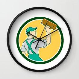 Plasterer Masonry Trowel Circle Cartoon Wall Clock