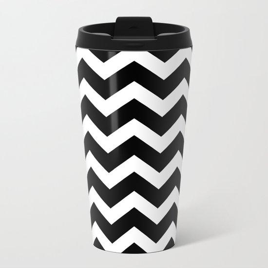 Chevron Black & White Metal Travel Mug