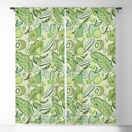 Fruits and vegetables on a light green background. Blackout Curtain