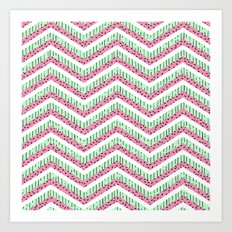 Pastel turquoise pink watermelon chevron summer pattern  Art Print