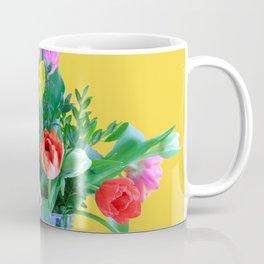Colorful Spring Tulips on Yellow Background Coffee Mug