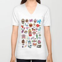 stickers V-neck T-shirts featuring I Love Stickers by Jade Boylan