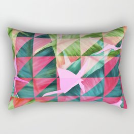Abstract Hot Pink Banana Leaves Design Rectangular Pillow