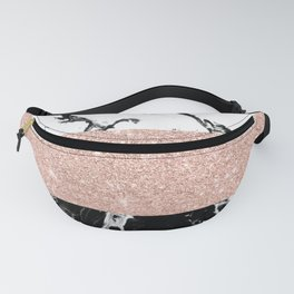 Modern black white marble rose gold color block stripes pattern Fanny Pack