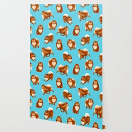 Pomeranian Pattern (Blue Background) Wallpaper