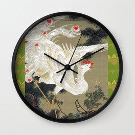 Jakuchu Phoenix with Paulownia Background Wall Clock