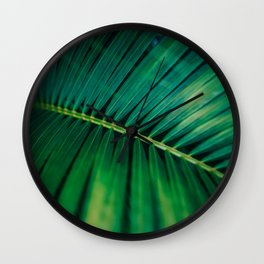 Green Leaf Palm Frond Photo Wall Clock