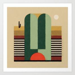 Cactus Shadow Sun Land Art Print