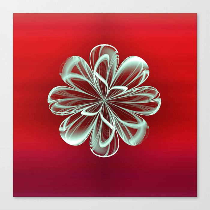 Cyan Bloom on Red Canvas Print
