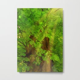 Old Tree Thick Branches Green And Sun Metal Print