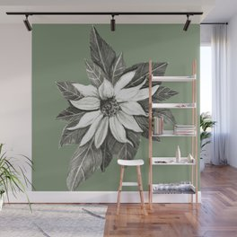 Florida Flower with Green Background Wall Mural