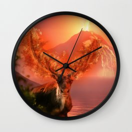 Deer on Fire by GEN Z Wall Clock