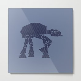 AT-AT Navy, Blue, Gray and Chevrons Metal Print