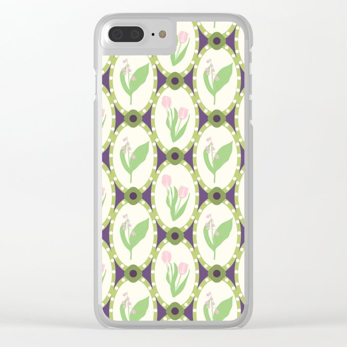 Spring Flowers Tulips and Lily of the Valley Illustrated Pattern Print Clear iPhone Case