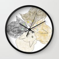 kittens Wall Clocks featuring kittens by GPM Arts