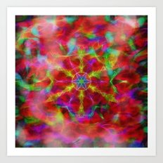 Vibrant kaleidoscope in red mist Art Print