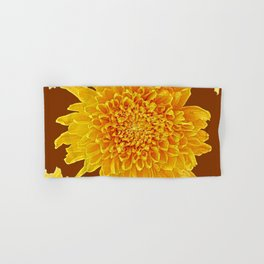 Coffee Brown Color Golden Yellow Chrysanthemums Hand & Bath Towel