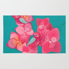Pink color flower and bird motifs on turquoise marble background Rug