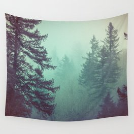 Forest Fog Fir Trees Wall Tapestry