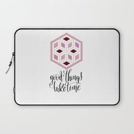 Pink Sequins Cube Good Things Take Times Typography Laptop Sleeve