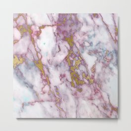 Grungy pink and gold faux marble Metal Print