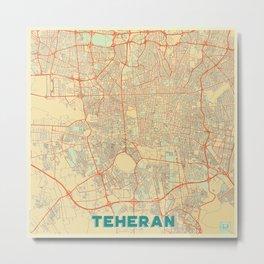 Teheran Map Retro Metal Print