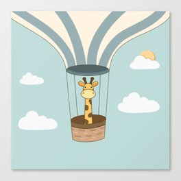 Kawaii Cute Giraffe On A Hot Air Balloon Canvas Print