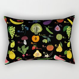 English fruit and vegetables alphabet on dark Rectangular Pillow