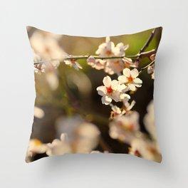 Winter spring. Almond flowers Throw Pillow