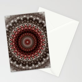 Detailed mandala in grey and red Stationery Cards