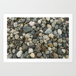 Set of round gray stones called boulders. Art Print