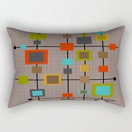 Mid-Century Modern Squares Pattern Rectangular Pillow