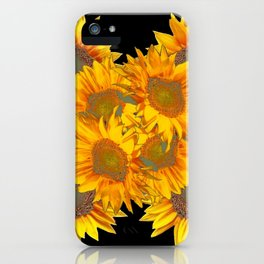 Golden Yellow Sunflowers on Black Color iPhone Case