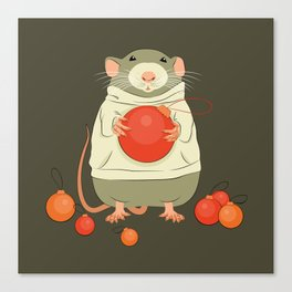 Mouse with a Christmas ball II Canvas Print