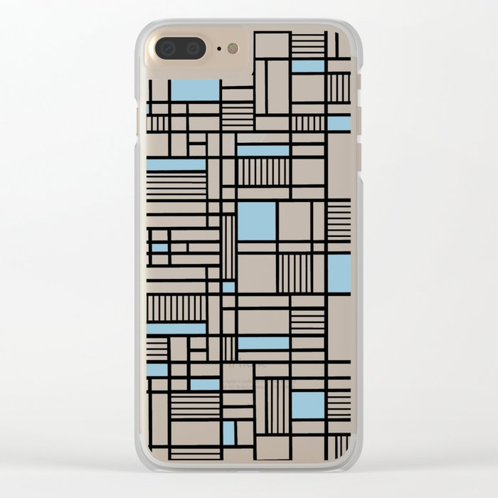 Map Lines Sky Blue Clear iPhone Case