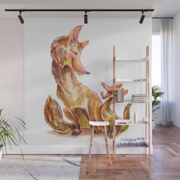 Tender moment Fox and Cub Wall Mural