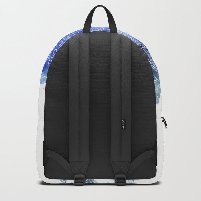 Blue Floral Pattern 03 Backpack