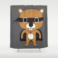 beaver Shower Curtains featuring Super Beaver by Ariseli Modica