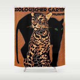 Vintage Munich Zoo Leopard 1912 Advertisement Shower Curtain