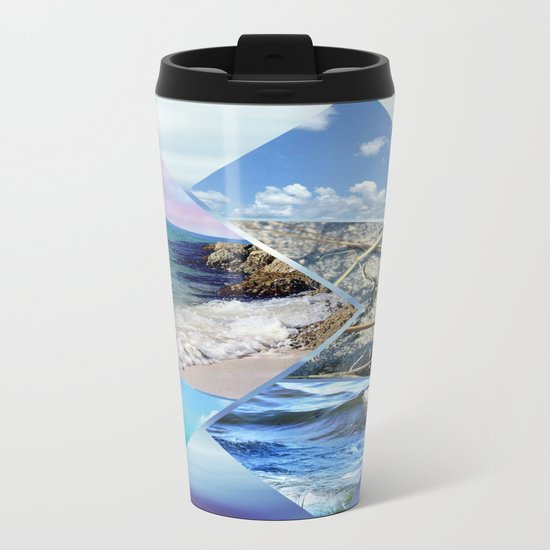 Sea, Sand and Sky Collage Metal Travel Mug