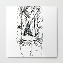 Band Shirt and Leather Jacket Metal Print